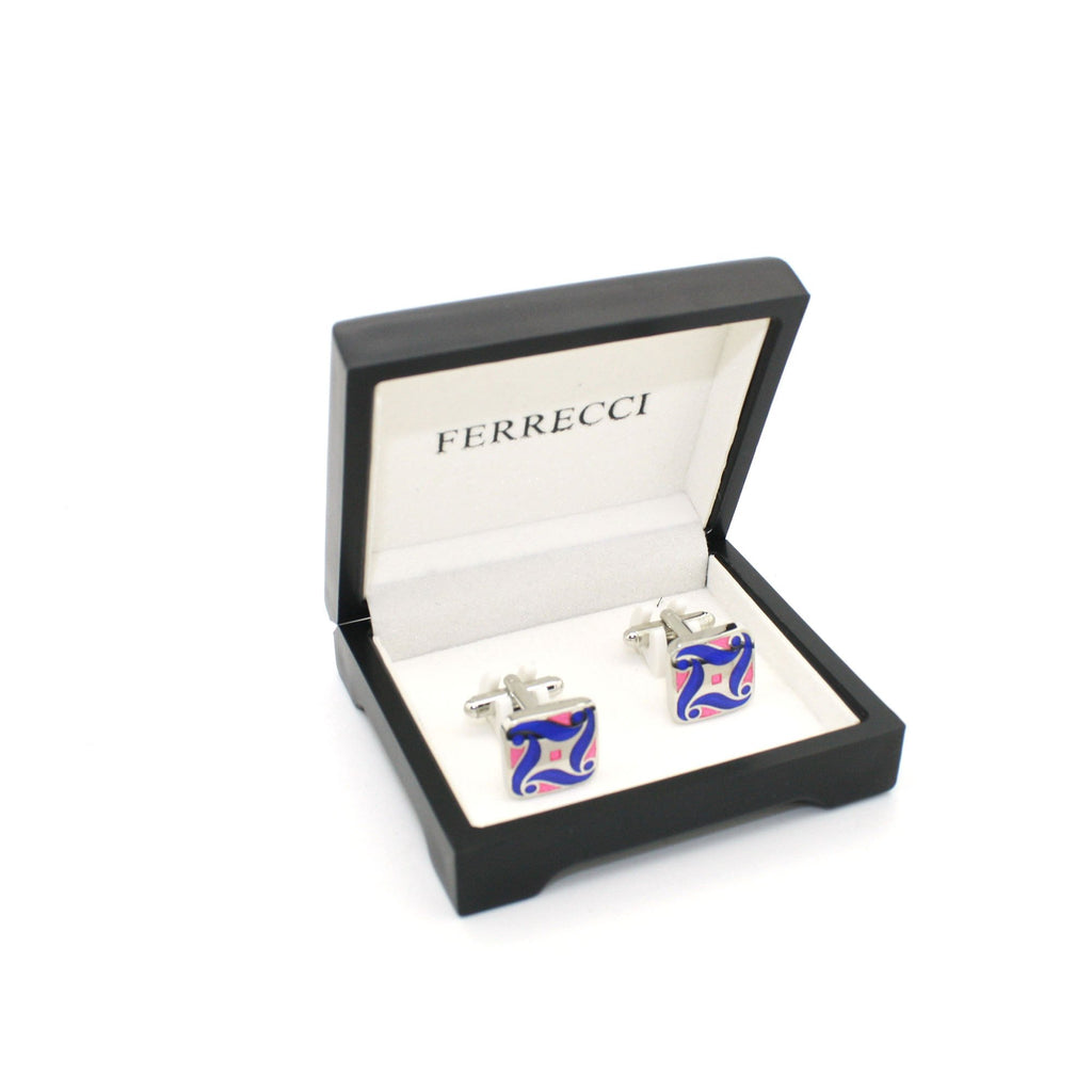 Silvertone Purple Swirl Cuff Links With Jewelry Box - Ferrecci USA