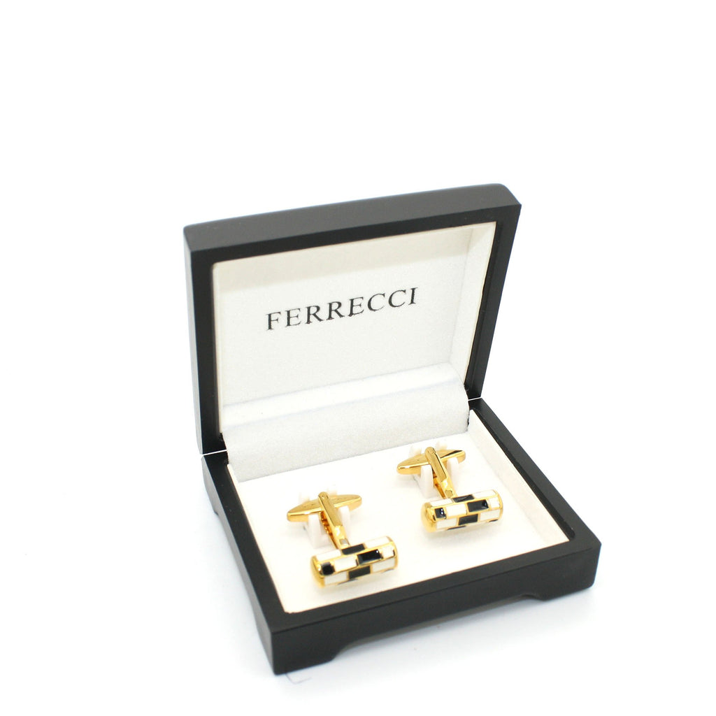 Goldtone Black & White Cuff Links With Jewelry Box - Ferrecci USA