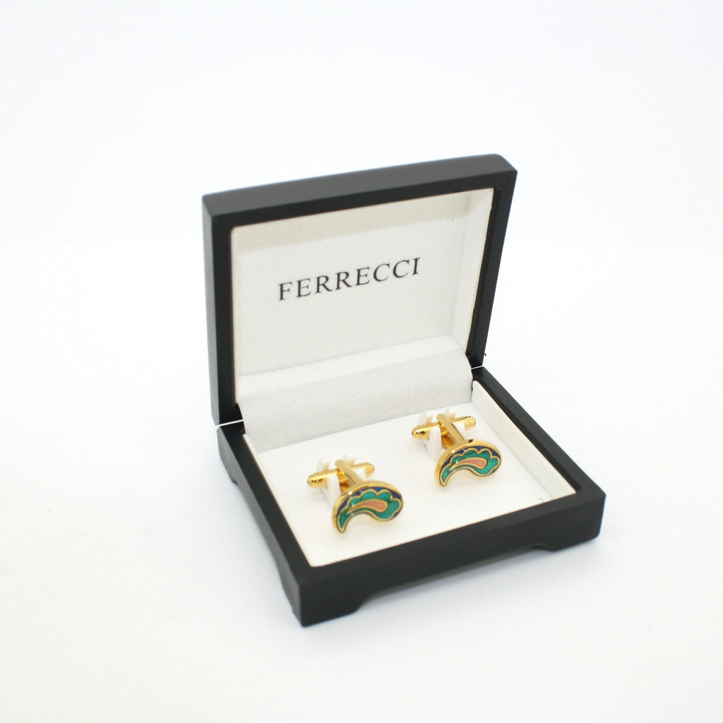Goldtone Paisley Design Cuff Links With Jewelry Box - Ferrecci USA