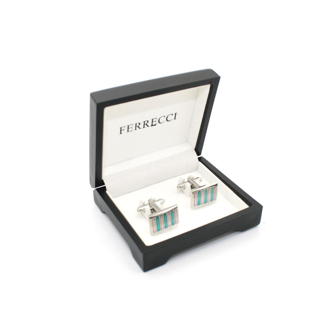 Silvertone Mint & Pink Stripe Cuff Links With Jewelry Box - Ferrecci USA