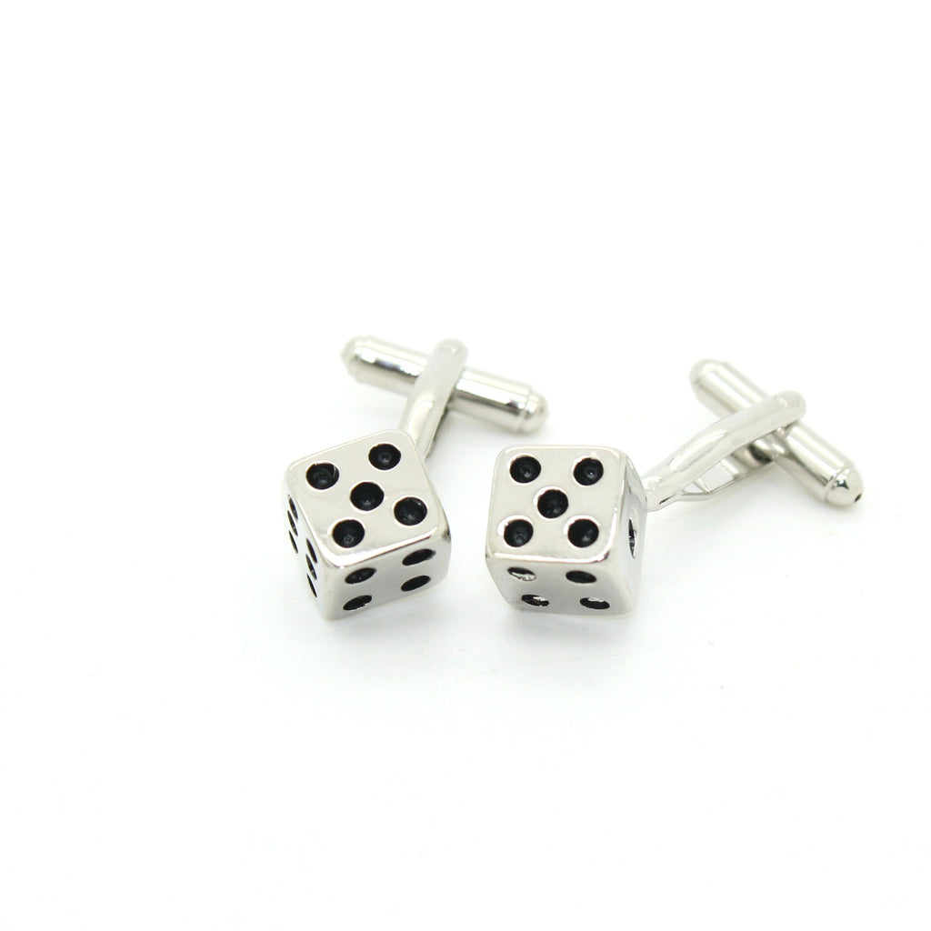 Silvertone Dice Cuff Links With Jewelry Box - Ferrecci USA