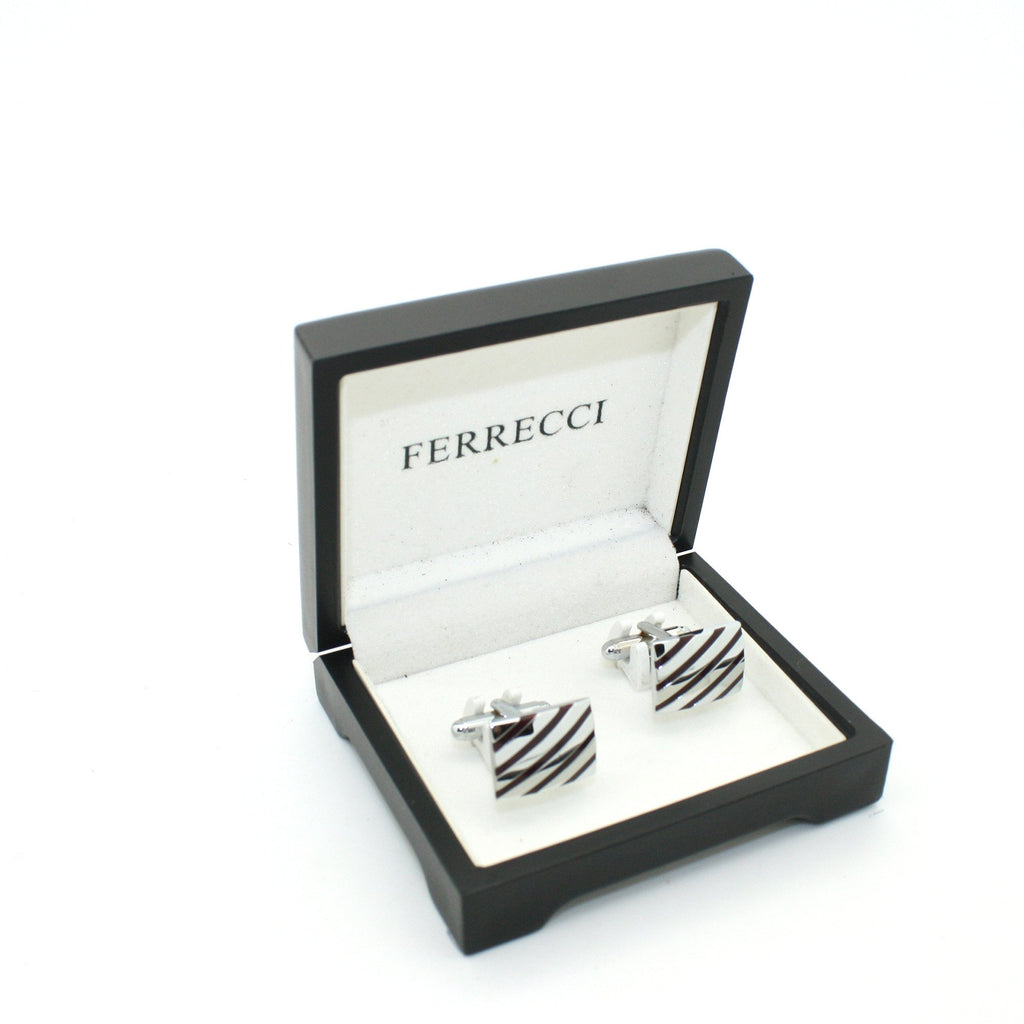 Silvertone Stripe Cuff Links With Jewelry Box - Ferrecci USA
