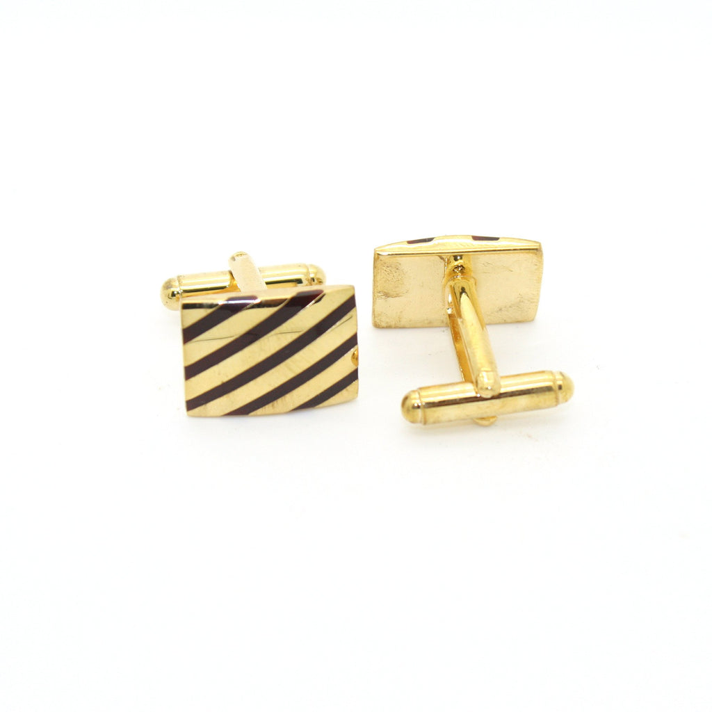 Goldtone Stripe Cuff Links With Jewelry Box - Ferrecci USA