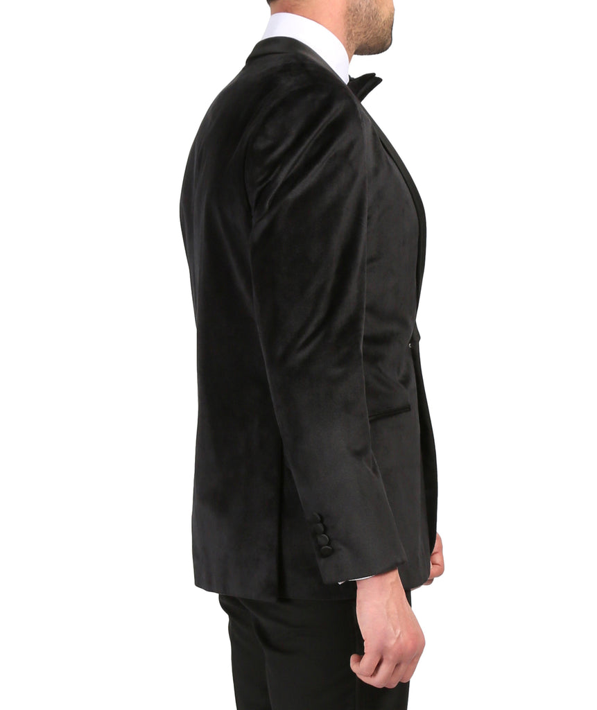 Enzo Black Slim Fit Velvet Shawl Collar Tuxedo Blazer - Ferrecci USA