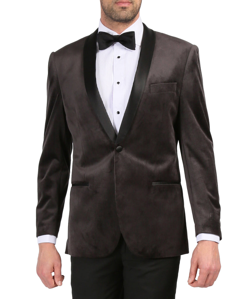 Enzo Grey Slim Fit Velvet Shawl Collar Tuxedo Blazer - Ferrecci USA
