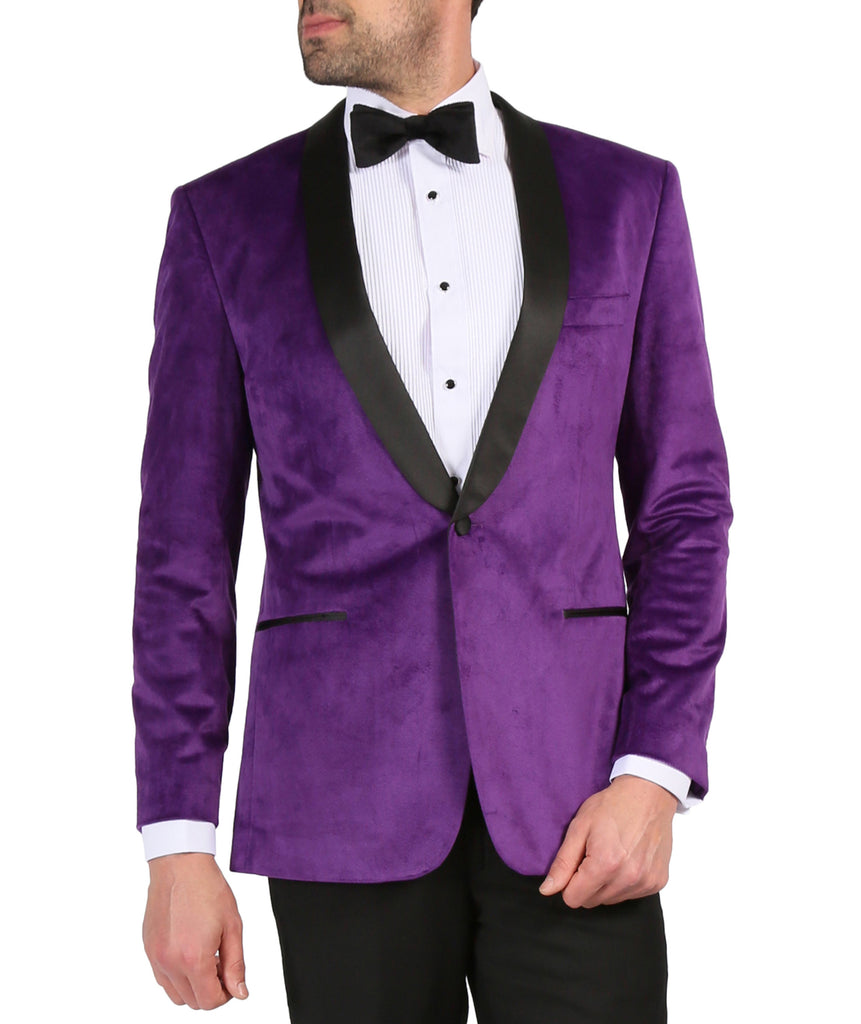 Enzo Purple Slim Fit Velvet Shawl Tuxedo Blazer - Ferrecci USA