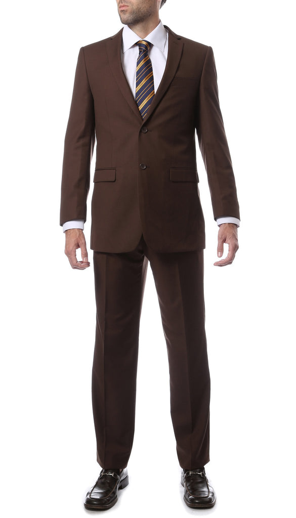 Premium FNL22R Mens 2 Button Regular Fit Brown Suit - Ferrecci USA