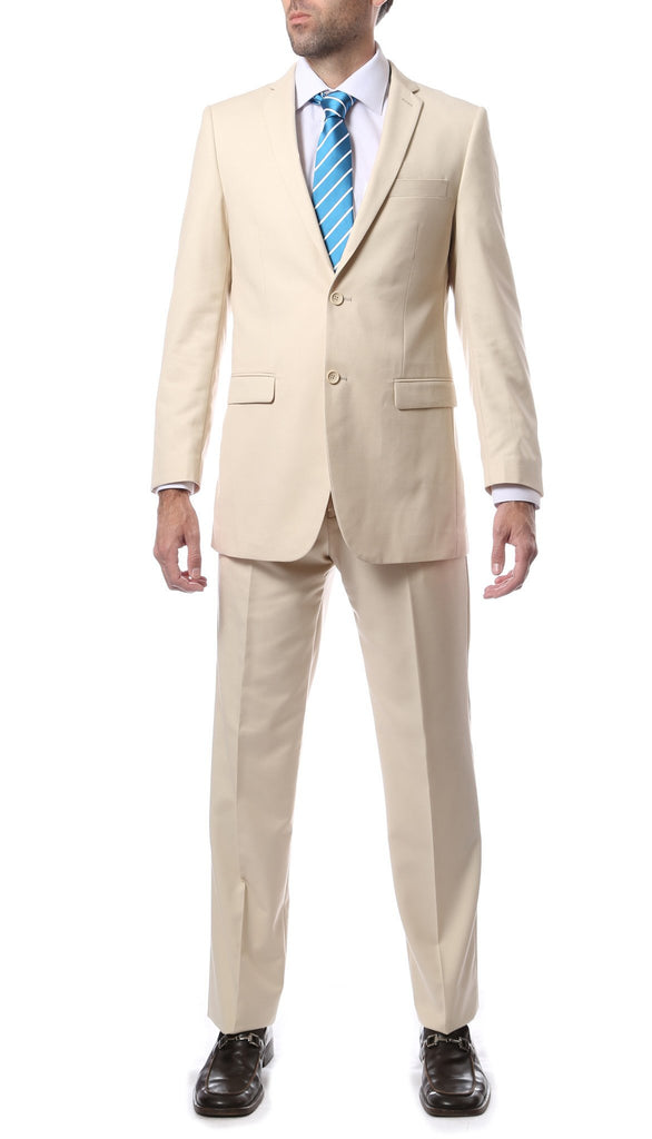 Premium FNL22R Mens 2 Button Regular Fit Tan Suit - Ferrecci USA