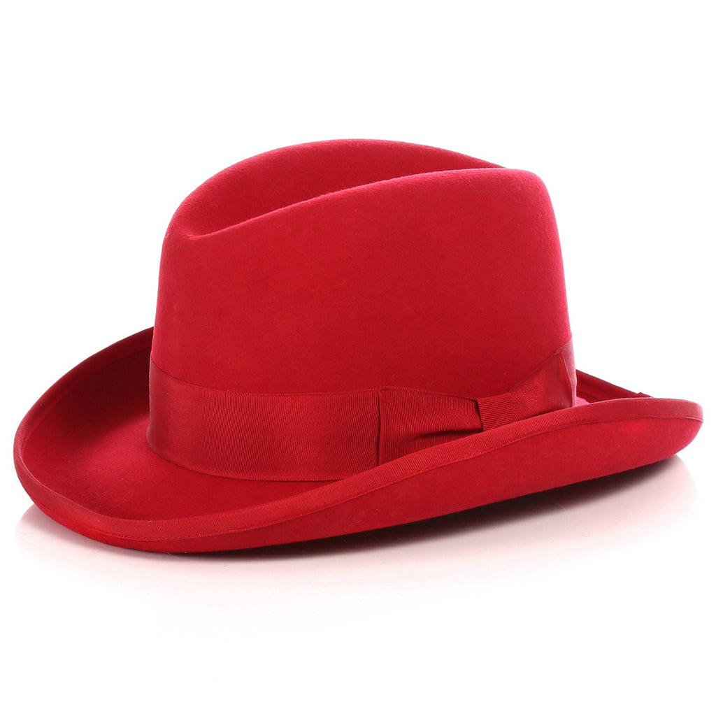 Ferrecci Wool Felt homburg Red Godfather Hat - Ferrecci USA