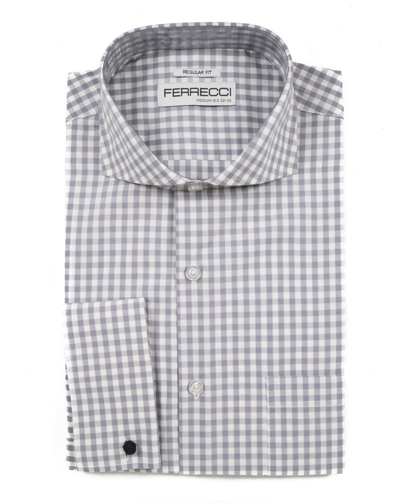 Grey Gingham Check French Cuff Dress Shirt - Regular Fit - Ferrecci USA
