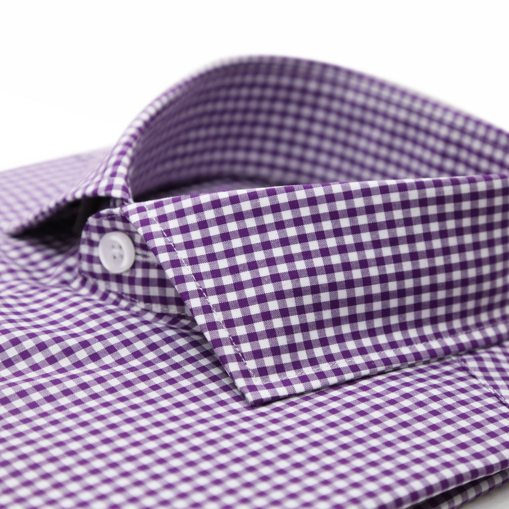 Purple Gingham Check French Cuff Dress Shirt - Regular Fit - Ferrecci USA