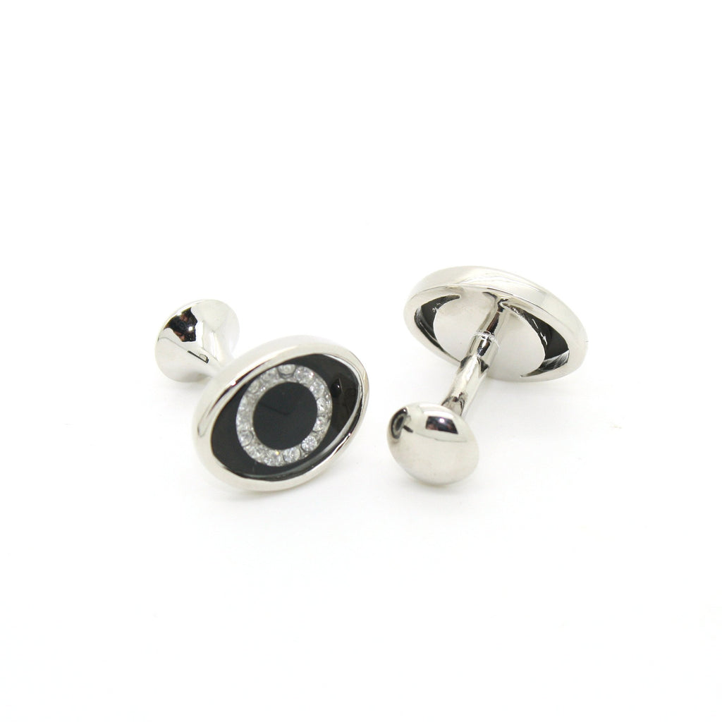 Silvertone Evil Eye Glass Stone Cuff Links With Jewelry Box - Ferrecci USA