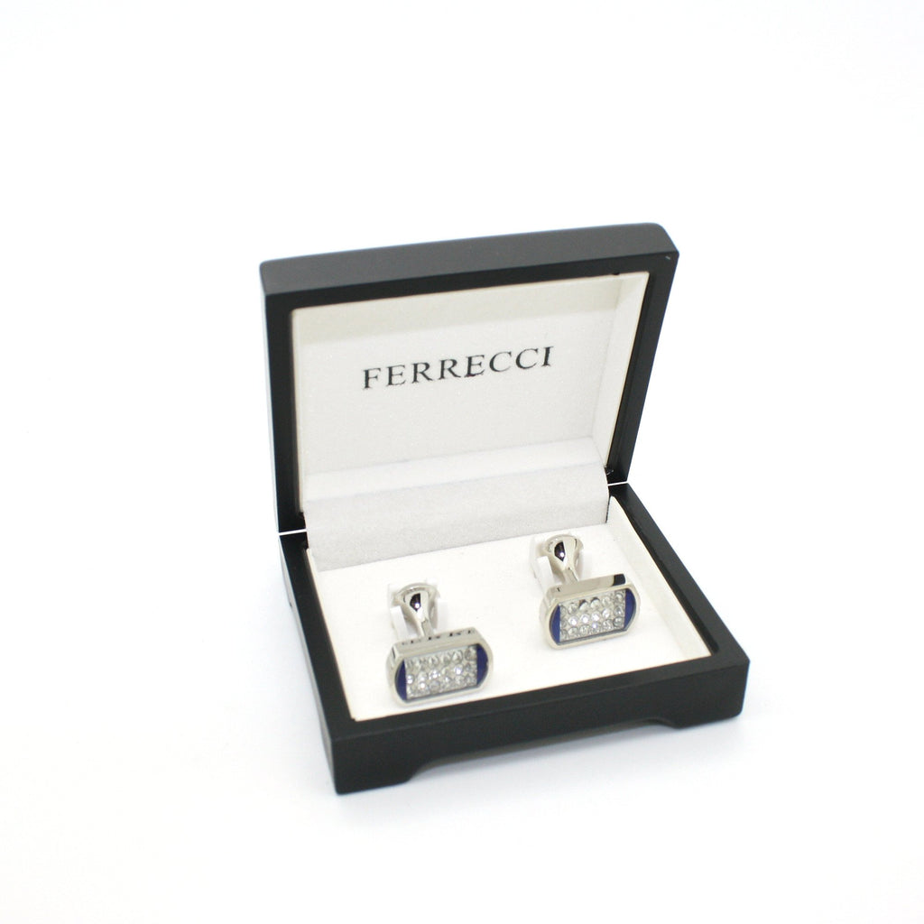 Silvertone Blue Glass Stone Cuff Links With Jewelry Box - Ferrecci USA