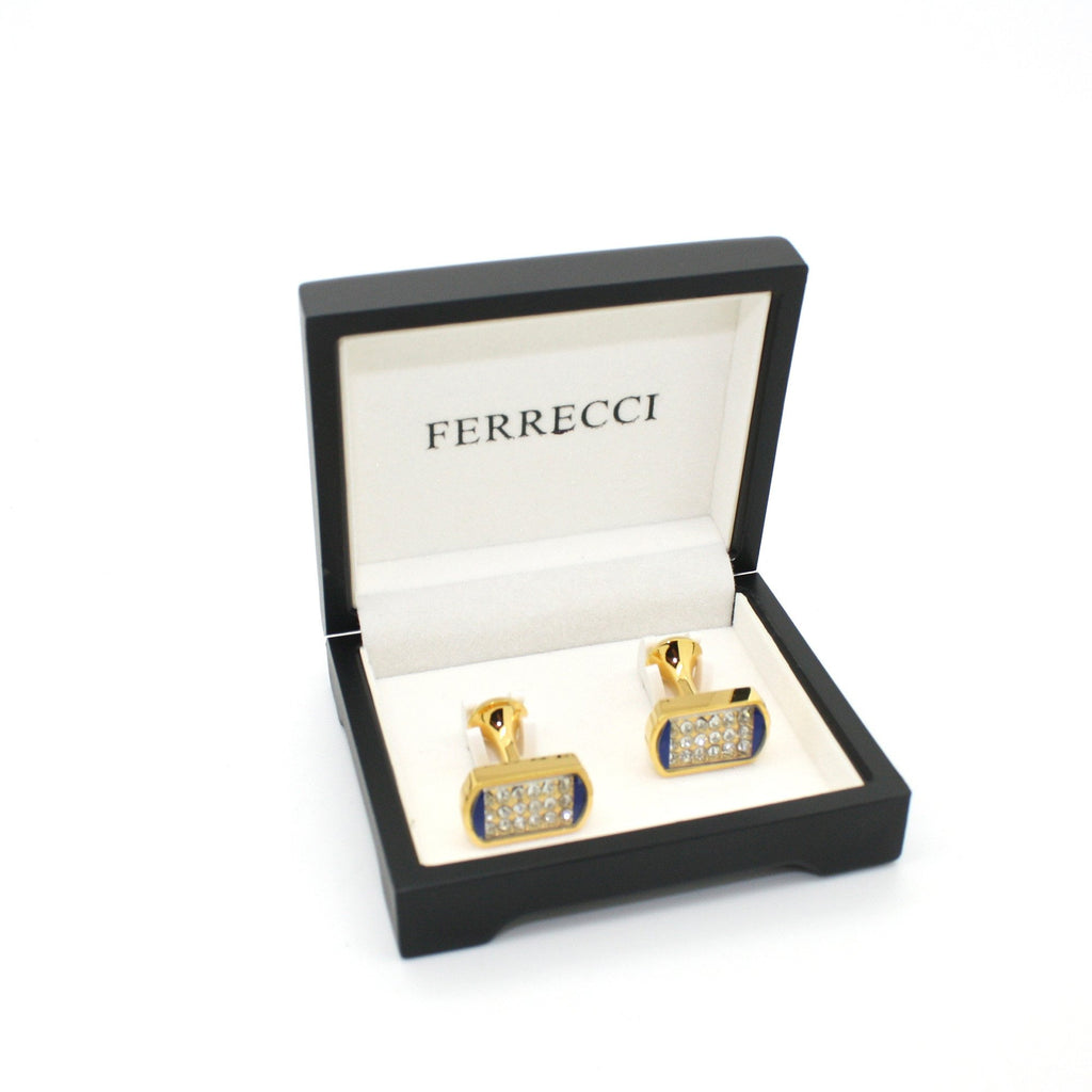 Goldtone Blue Glass Stone Cuff Links With Jewelry Box - Ferrecci USA