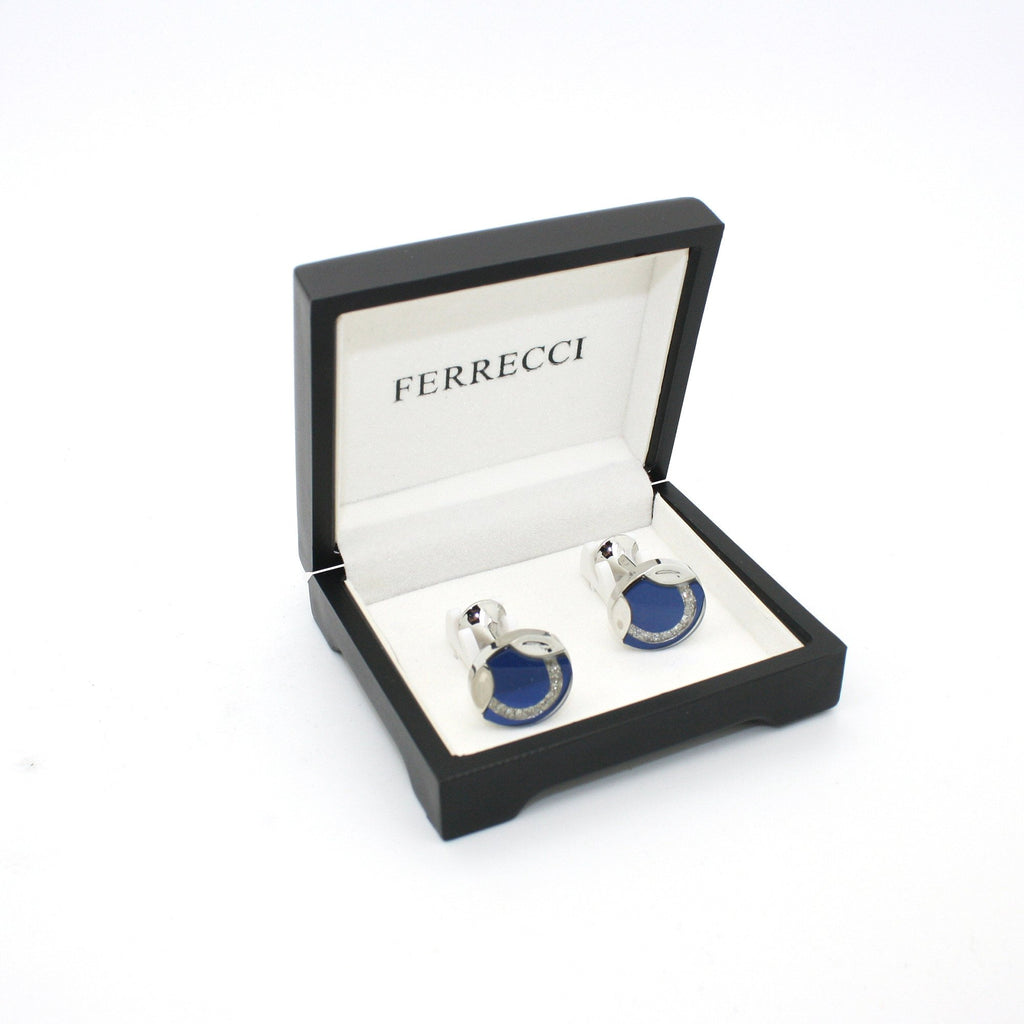 Silvertone Blue Glass Cuff Links With Jewelry Box - Ferrecci USA