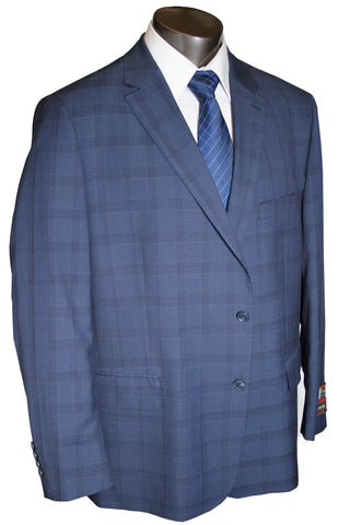 Giorgio Fiorelli 2 Button Navy Windowpane  Executive Cut - Portly Suit - G79620