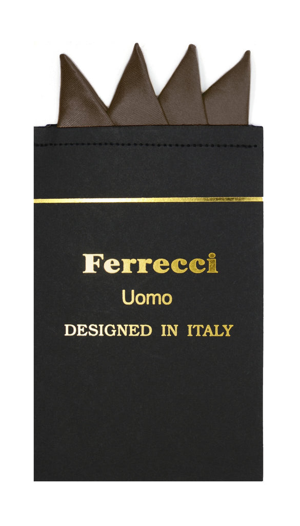 Pre-Folded Microfiber Brown Handkerchief Pocket Square - Ferrecci USA