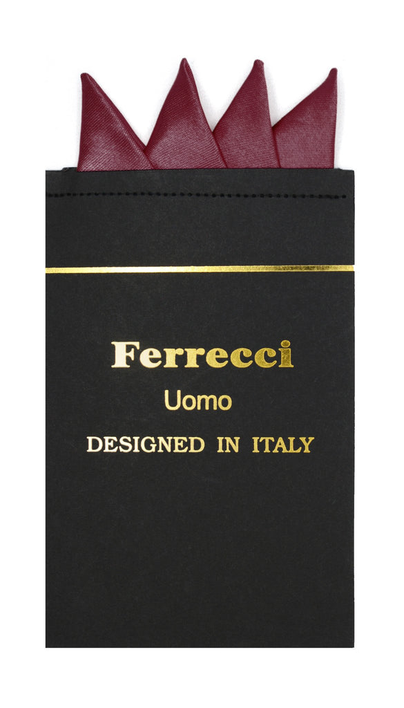 Pre-Folded Microfiber Burgundy Handkerchief Pocket Square - Ferrecci USA