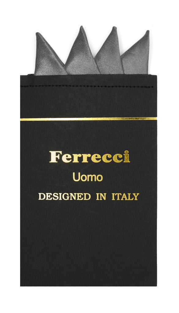 Pre-Folded Microfiber Charcoal Handkerchief Pocket Square - Ferrecci USA