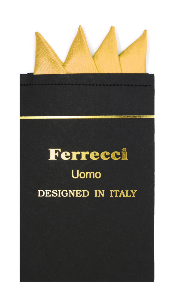 Pre-Folded Microfiber Gold Handkerchief Pocket Square - Ferrecci USA