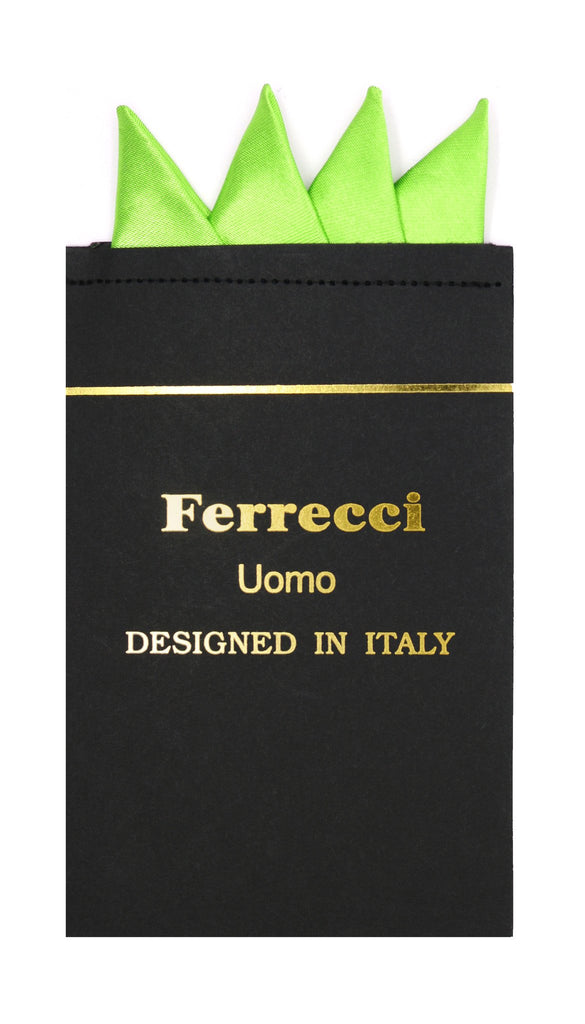 Pre-Folded Microfiber Lime Green Handkerchief Pocket Square - Ferrecci USA