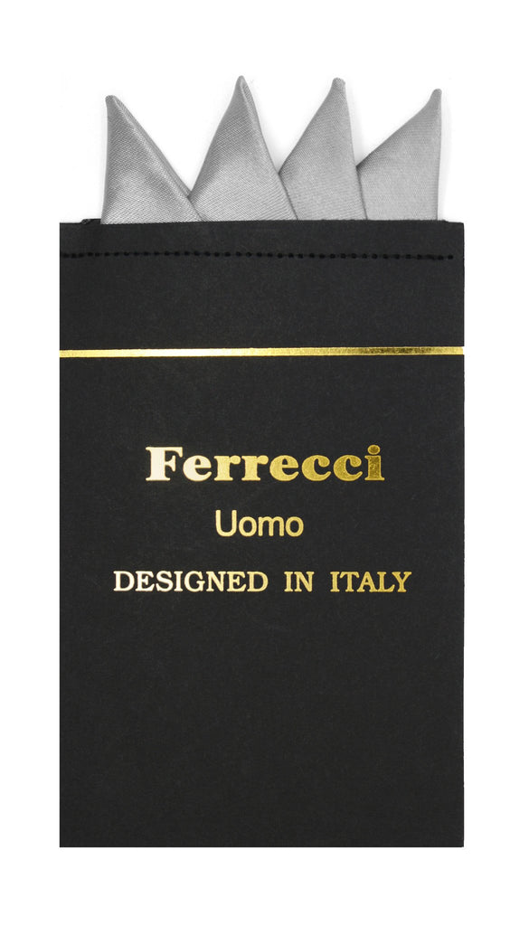 Pre-Folded Microfiber Light Grey Handkerchief Pocket Square - Ferrecci USA