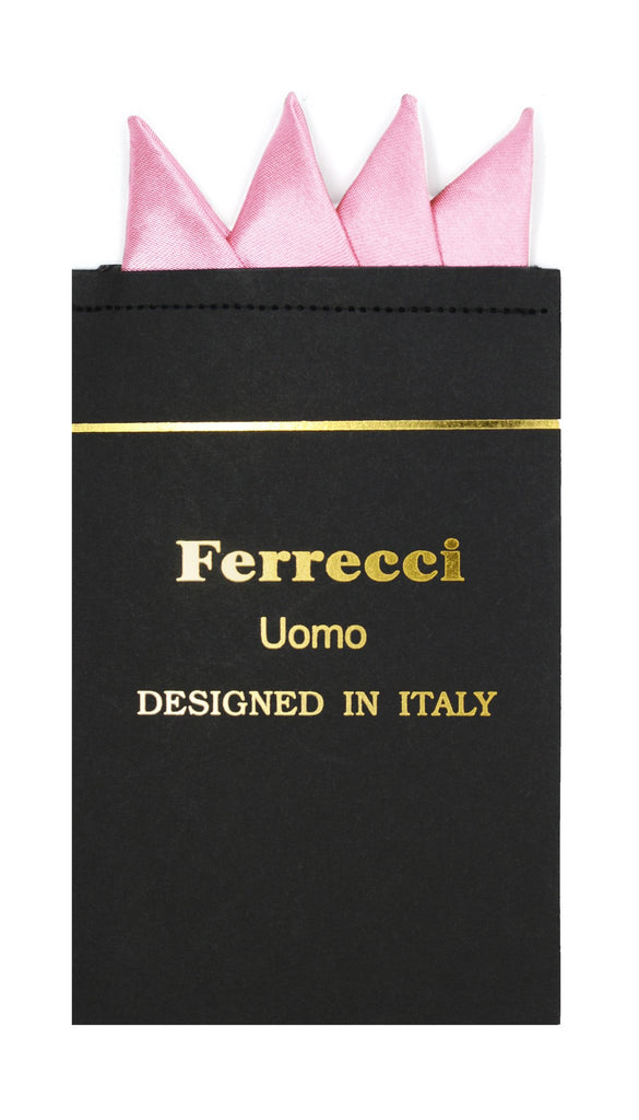 Pre-Folded Microfiber Pink Handkerchief Pocket Square - Ferrecci USA