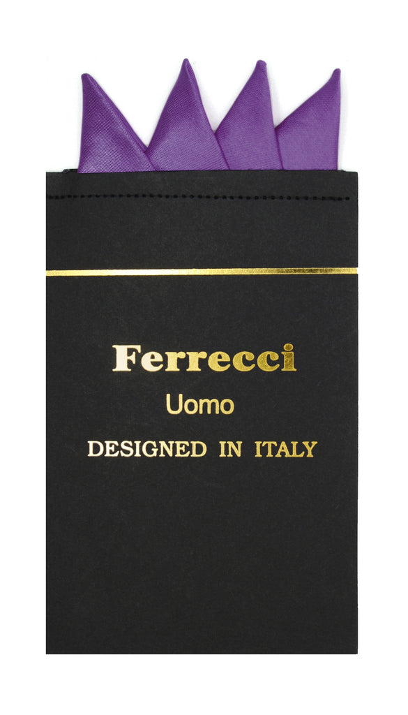 Pre-Folded Microfiber Purple Handkerchief Pocket Square - Ferrecci USA