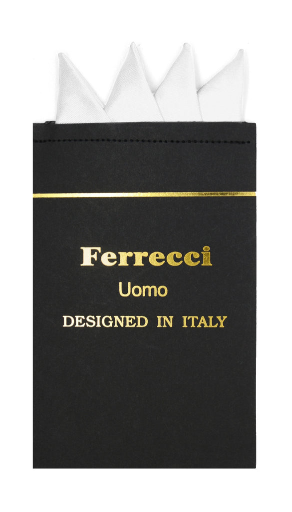 Pre-Folded Microfiber White Handkerchief Pocket Square - Ferrecci USA