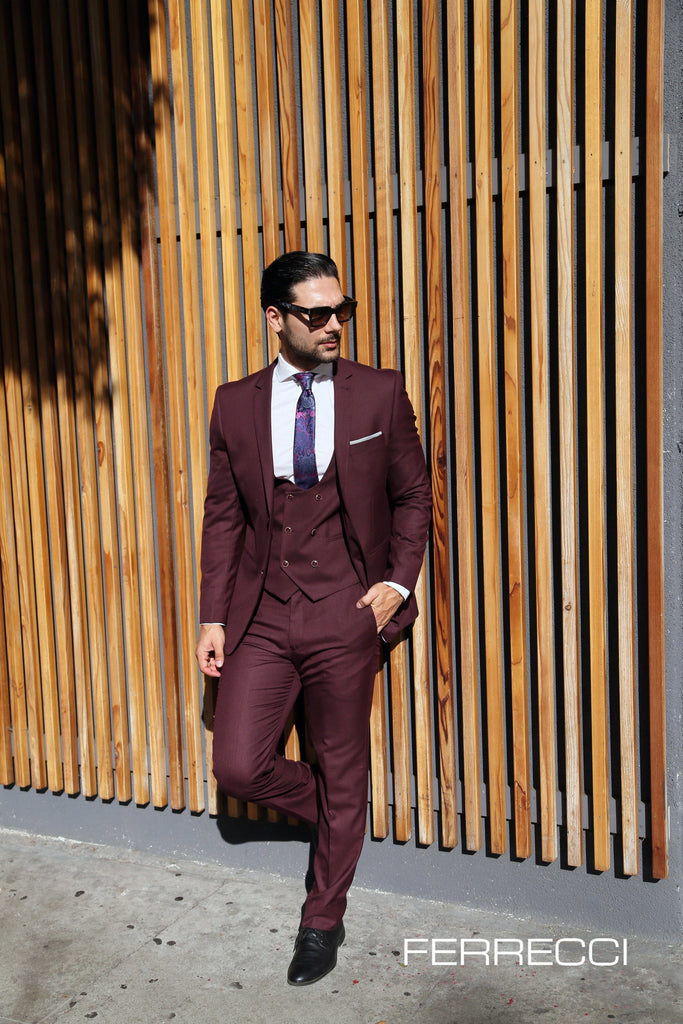 Hart 3pc Slim Fit Burgundy Suit - Ferrecci USA