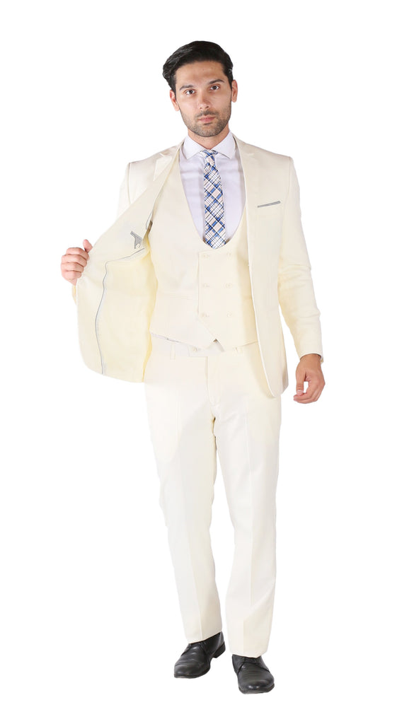 Hart 3pc Slim Fit Winter White Suit - Ferrecci USA