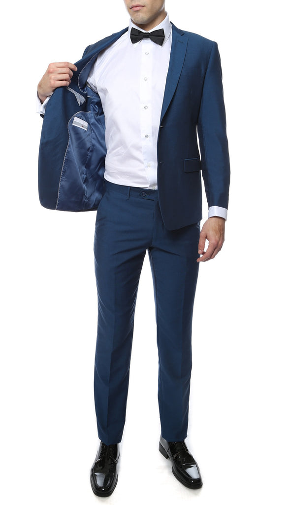 Hudson Indigo Blue Slim Fit 2pc Suit - Ferrecci USA