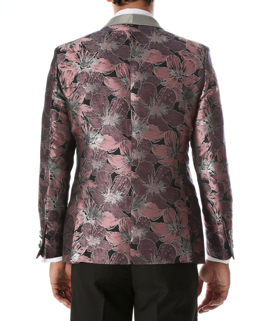 Men's Hugo Rose Floral Modern Fit Shawl Collar Tuxedo Blazer - Ferrecci USA