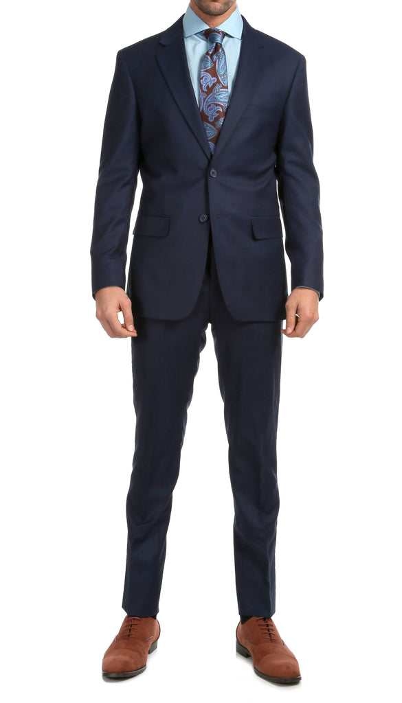Mason Navy Men's Premium 2pc Premium Wool Slim Fit Suit - Ferrecci USA