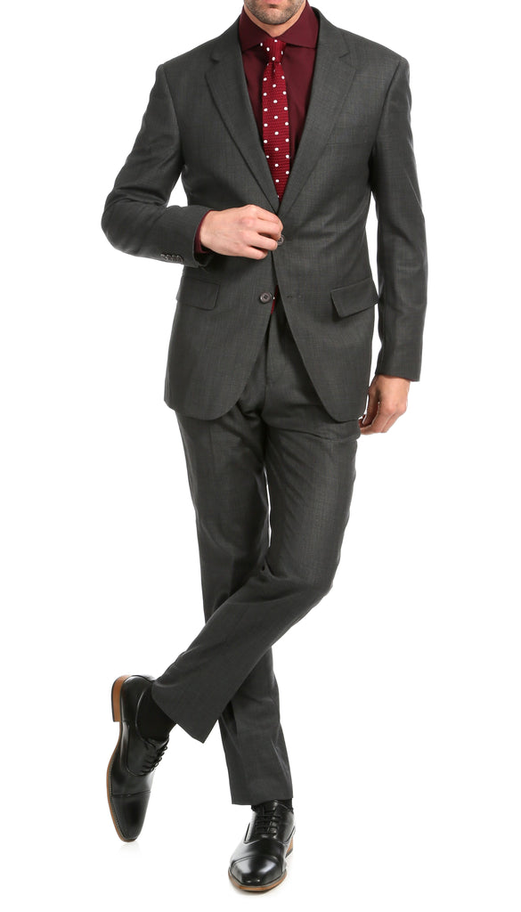 Mason Charcoal Men's Premium 2pc Premium Wool Slim Fit Suit - Ferrecci USA