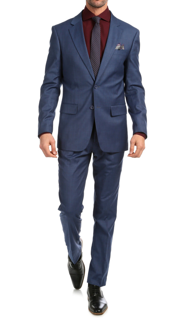 Mason Slate Men's Premium 2pc Premium Wool Slim Fit Suit - Ferrecci USA