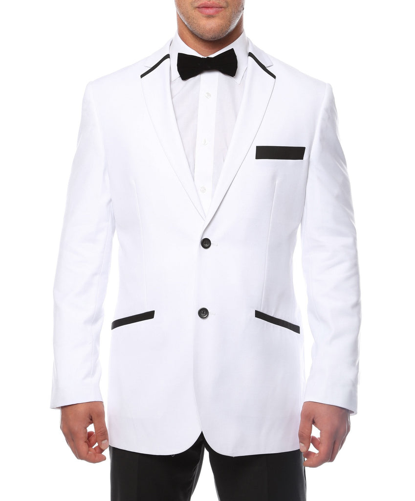 The JerseyBoy White Black Slim Fit Mens Blazer - Ferrecci USA