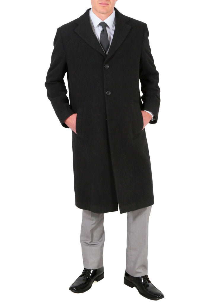 Ken Men's Wool Charcoal Top Coat - Ferrecci USA