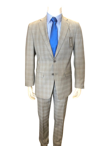 Michael Kors 2-Button Wool Light Gray Plaid Suit KFW0058
