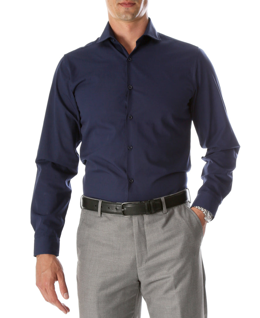 Mens Slim Fit Dress Shirt Navy - Ferrecci USA