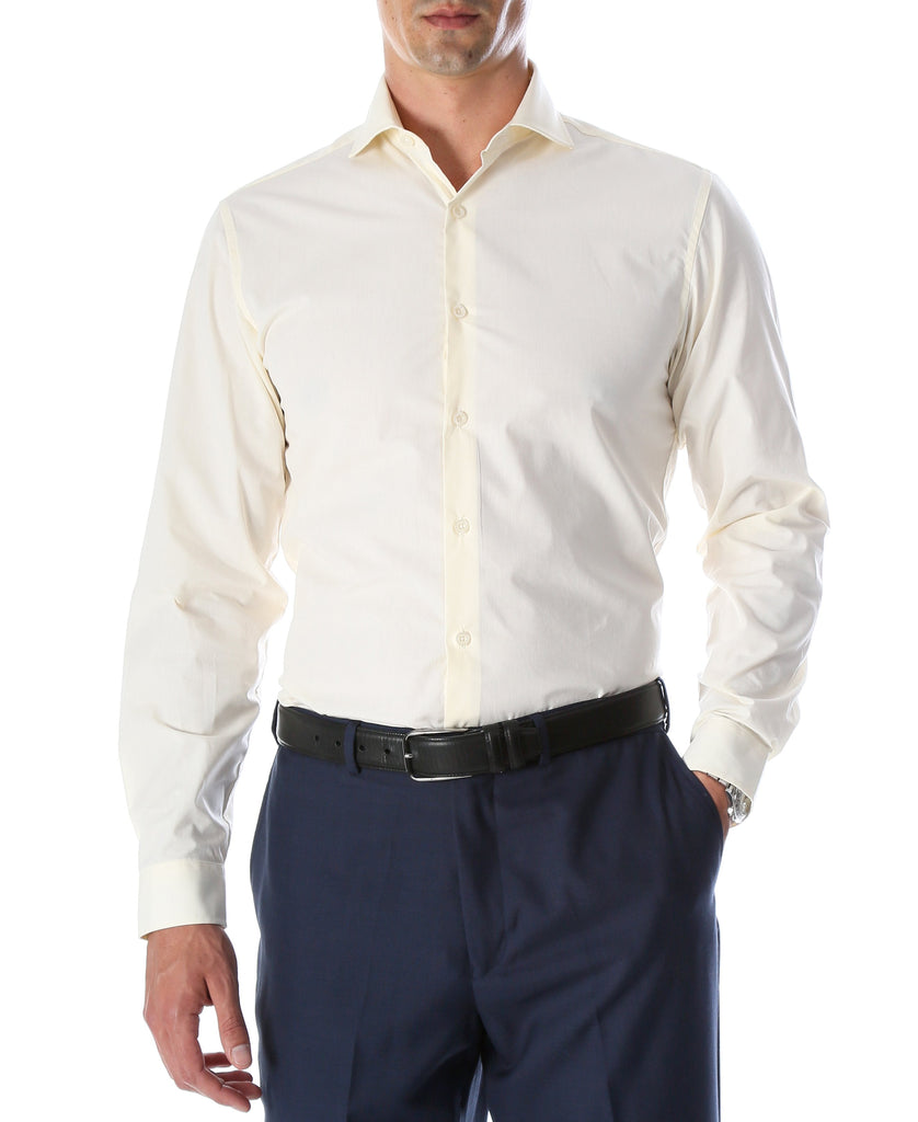 Leo Mens Off White Slim Fit Cotton Dress Shirt - Ferrecci USA