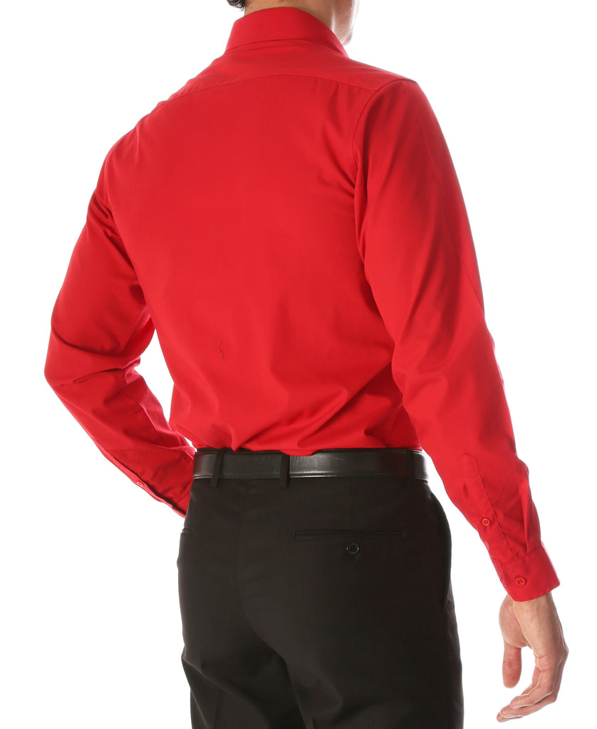 Leo Mens Red Slim Fit Cotton Dress Shirt - Ferrecci USA