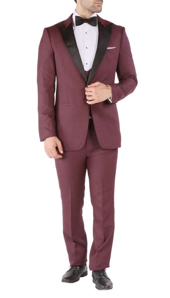 Luna 3pc Slim Fit Bugundy Peak Lapel Tuxedo - Ferrecci USA