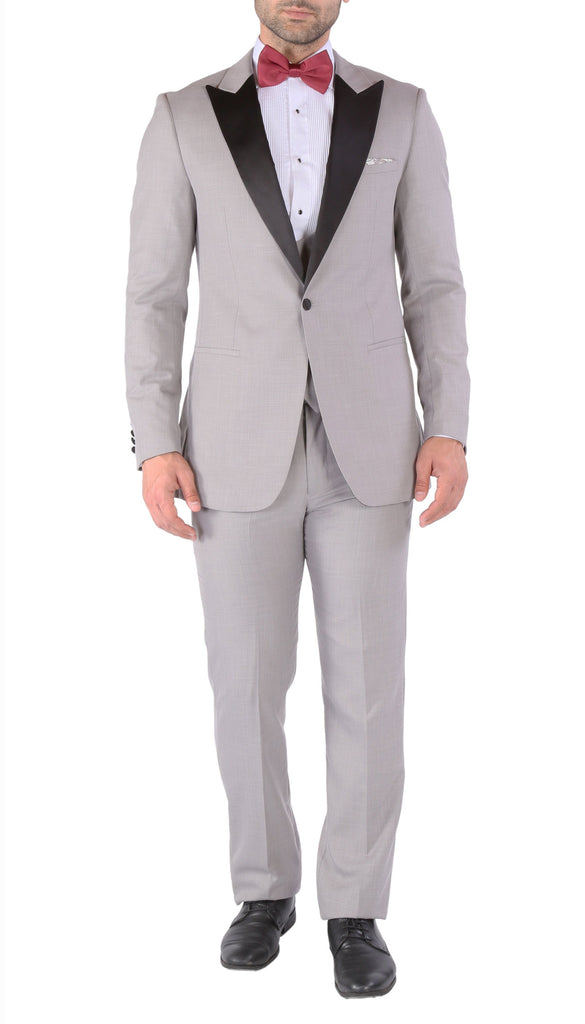 Luna 3pc Slim Fit Grey Peak Lapel Tuxedo - Ferrecci USA