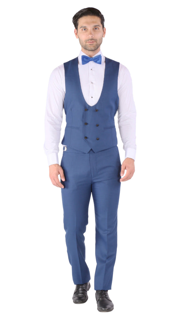 Luna 3pc Slim Fit Indigo Blue Peak Lapel Tuxedo - Ferrecci USA