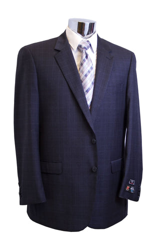 Lazetti Couture Mens Slate Blue Plaid Portly Suit - C82452PT