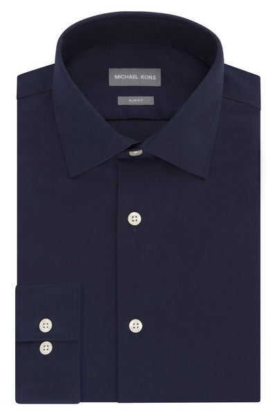 Michael Kors Mens Slim Fit Non Iron Navy Dress Shirt - 35C0124
