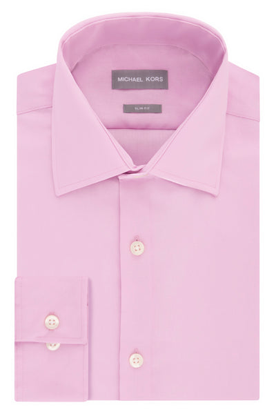 Michael Kors Mens Slim Fit Non Iron Dusty Pink Dress Shirt - 35C0124