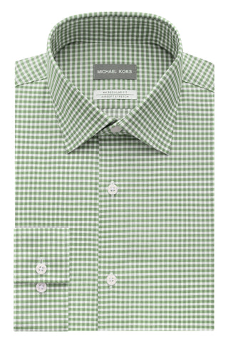 Michael Kors Mens Regular Fit Olive Check Dress Shirt - 35S1469