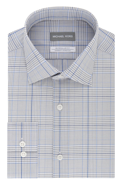 Michael Kors Mens Regular Fit Multi Blue Check Dress Shirt - 35S1474